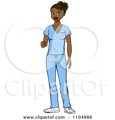 Clipart Friendly Black Nurse Surgeon Or Doctor In Scrubs
