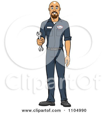 Clipart Happy White Male Auto Mechanic Holding A Wrench - Royalty Free Vector Illustration by Cartoon Solutions