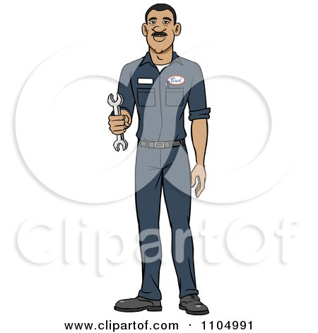 Clipart Happy Hispanic Male Auto Mechanic Holding A Wrench - Royalty Free Vector Illustration by Cartoon Solutions