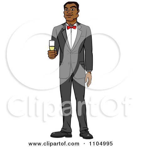 Clipart Formal Black Man In A Tuxedo Holding Champagne - Royalty Free Vector Illustration by Cartoon Solutions