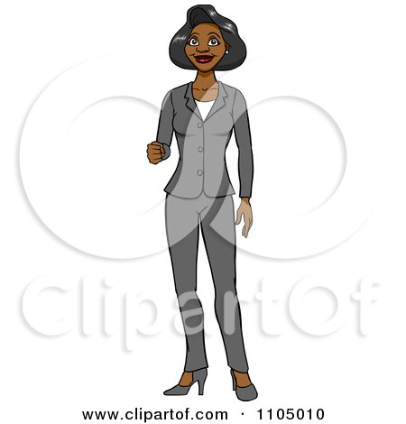 Clipart Black Business Woman In A Pant Suit Holding Up Her Knuckles - Royalty Free Vector Illustration by Cartoon Solutions