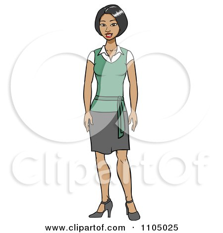 Clipart Friendly Asian Secretary In A Skirt - Royalty Free Vector Illustration by Cartoon Solutions