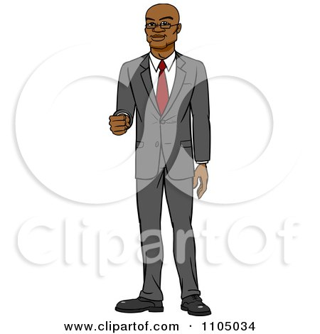 Clipart Happy White Businessman Holding Out His Knuckles - Royalty Free Vector Illustration by Cartoon Solutions