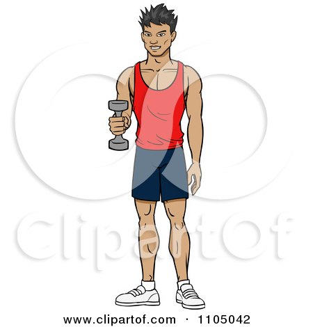 Clipart Strong Asian Man Lifting A Dumbbell At The Gym - Royalty Free Vector Illustration by Cartoon Solutions