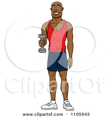 Clipart Strong White Man Lifting A Dumbbell At The Gym - Royalty ...