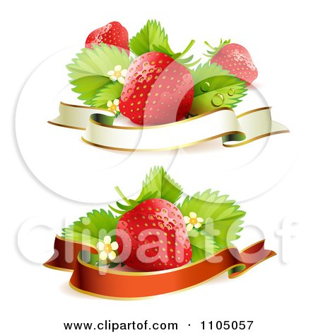 Clipart Red Strawberries With Leaves Blossoms And Blank Banners - Royalty Free Vector Illustration by merlinul