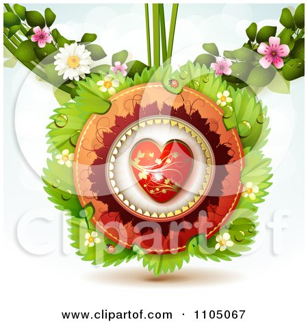 Clipart Red And Gold Heart With Leaves Ladybugs And Blossoms - Royalty Free Vector Illustration by merlinul