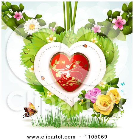 Clipart Red And Gold Heart With Ladybugs Over Leaves With Blossoms Roses Grass And A Butterfly - Royalty Free Vector Illustration by merlinul
