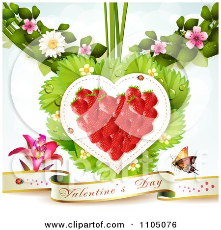 Clipart Strawberry Heart With Dewy Leaves Blossoms And A Valentines Day Banner - Royalty Free Vector Illustration by merlinul