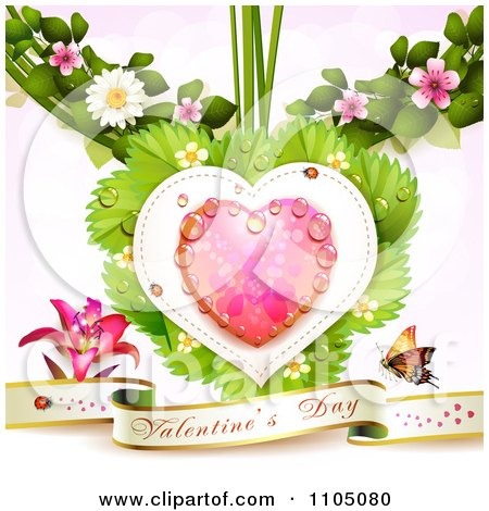 Clipart Valentines Banner With A Lily And Butterfly Under A Dewy Pink Heart With Ladybugs Leaves And Blossoms - Royalty Free Vector Illustration by merlinul