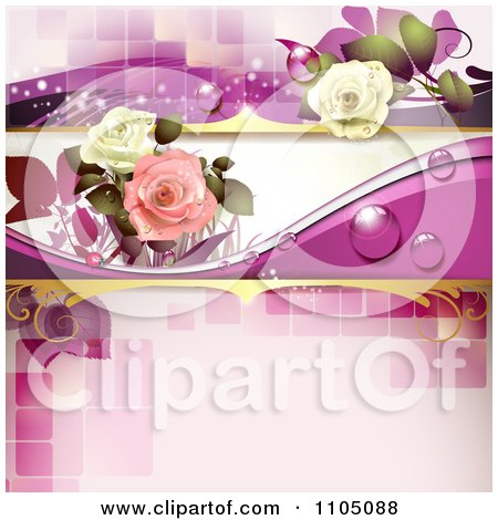Clipart Roses With Dew And A Ladybug On Pink With Tiles - Royalty Free Vector Illustration by merlinul