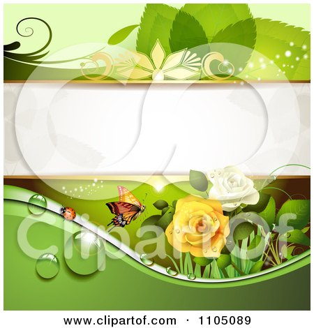 Clipart Green Leaf Background With A Ladybug Butterfly Dew And Roses - Royalty Free Vector Illustration by merlinul
