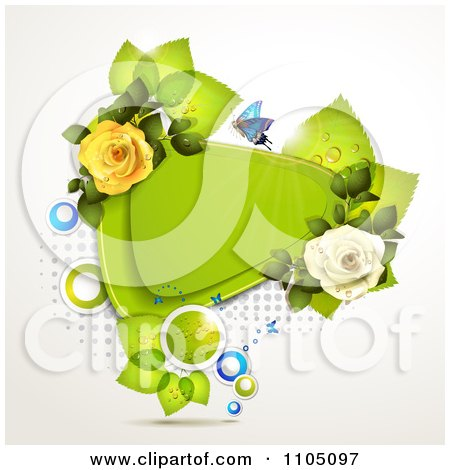 Clipart Blue Butterfly With A Triangle Frame Leaves And Roses - Royalty Free Vector Illustration by merlinul