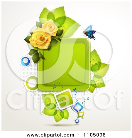 Clipart Blue Butterfly With A Square Frame Leaves And Roses - Royalty Free Vector Illustration by merlinul