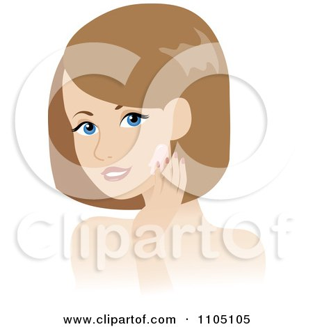 Clipart Woman Washing Her Face Or Applying Cream - Royalty Free Vector Illustration by Rosie Piter