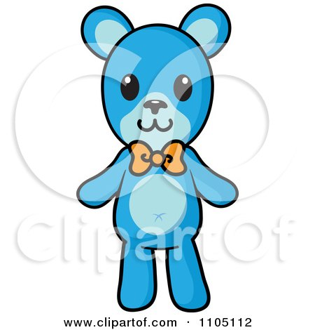 Clipart Blue Teddy Bear With An Orange Bow - Royalty Free Vector Illustration by Rosie Piter