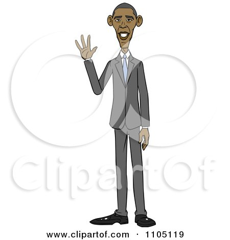 Clipart Caricature Of Barack Obama Standing And Waving - Royalty Free Vector Illustration by Cartoon Solutions