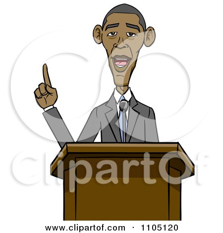 Clipart Caricature Of Barack Obama Speaking At A Podium - Royalty Free Vector Illustration by Cartoon Solutions
