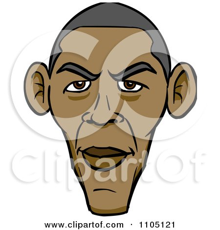 Clipart Caricature Of Barack Obamas Face - Royalty Free Vector Illustration by Cartoon Solutions