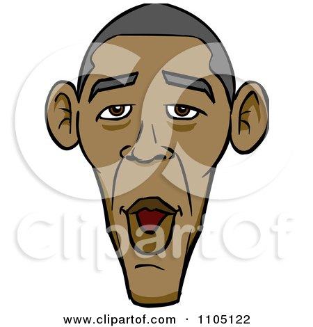 Clipart Caricature Face Of A Surprised Barack Obama - Royalty Free Vector Illustration by Cartoon Solutions