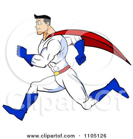 Clipart Strong Super Hero Man Sprinting In Profile - Royalty Free Vector Illustration by Cartoon Solutions