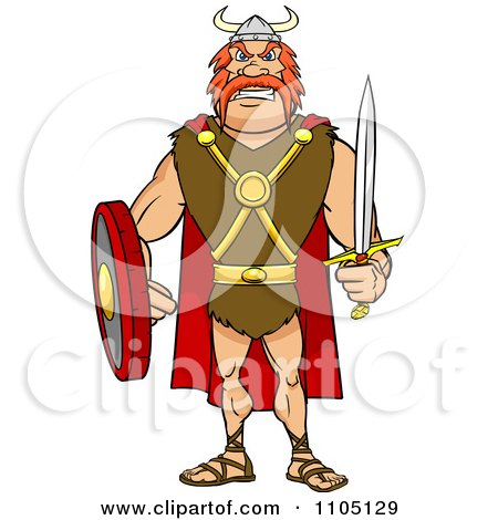 Clipart Tough Viking Warrior With A Sword And Shield - Royalty Free Vector Illustration by Cartoon Solutions