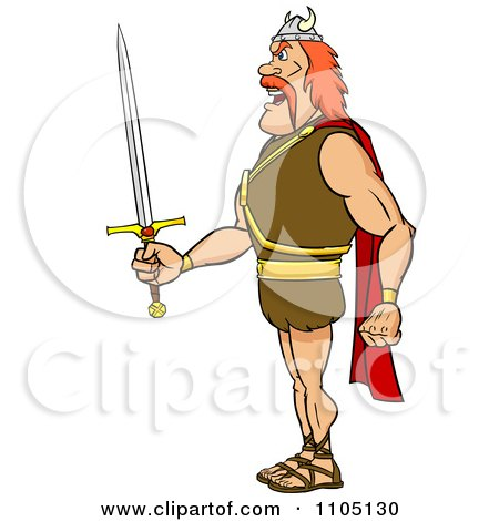 Clipart Tough Viking Warrior In Profile With A Sword - Royalty Free Vector Illustration by Cartoon Solutions