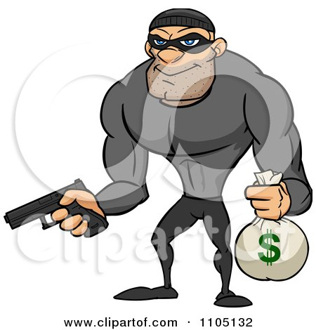 Clipart Buff Bank Robber Holding A Money Bag And Pistol - Royalty Free Vector Illustration by Cartoon Solutions