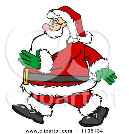 Clipart Santa Walking In Profile - Royalty Free Vector ...
