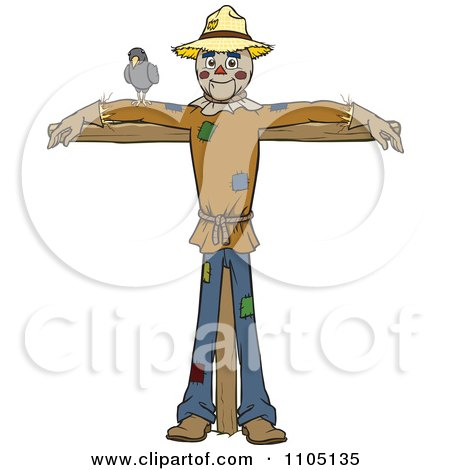 Clipart Happy Scarecrow With A Bird On His Arm - Royalty Free Vector Illustration by Cartoon Solutions