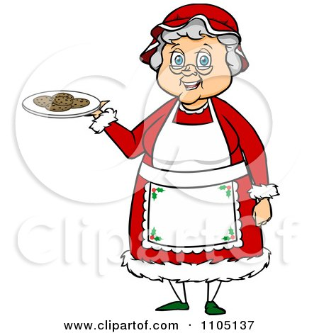 Clipart Happy Mrs Claus Holding A Plate Of Cookies - Royalty Free Vector Illustration by Cartoon Solutions