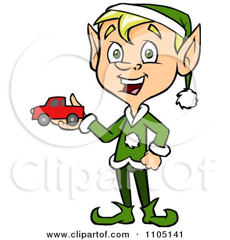 Clipart Happy Male Christmas Elf Holding A Toy Car - Royalty Free Vector Illustration by Cartoon Solutions