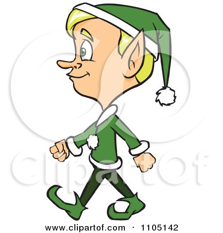 Clipart Happy Male Christmas Elf Walking - Royalty Free Vector Illustration by Cartoon Solutions