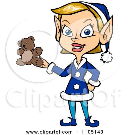 Clipart Happy Female Christmas Elf Holding A Teddy Bear - Royalty Free Vector Illustration by Cartoon Solutions