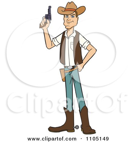 Clipart Wild West Cowboy Holding A Revolver - Royalty Free Vector Illustration by Cartoon Solutions