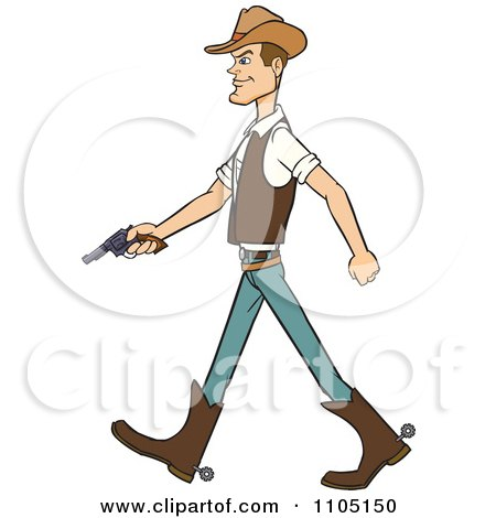 Clipart Wild West Cowboy Walking With A Revolver - Royalty Free Vector Illustration by Cartoon Solutions