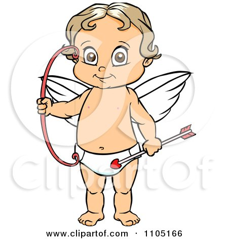 Clipart Happy Cupid Standing With A Bow And Arrow - Royalty Free Vector Illustration by Cartoon Solutions