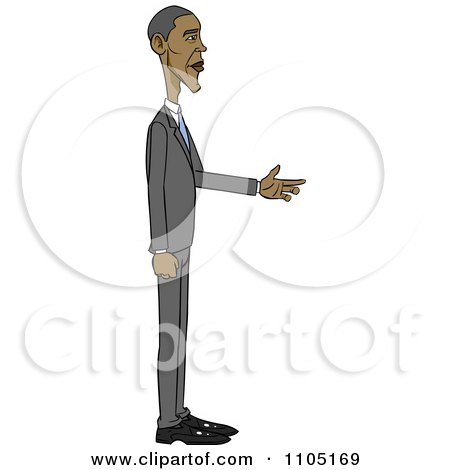 Clipart Caricature Of Barack Obama Holding His Hand Out - Royalty Free Vector Illustration by Cartoon Solutions