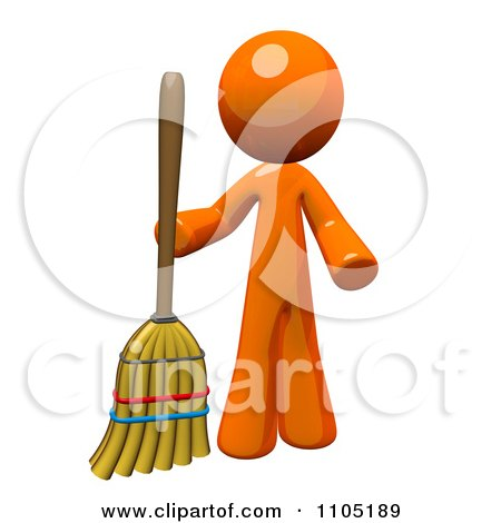Clipart 3d Orange Man Standing With A Broom - Royalty Free CGI Illustration by Leo Blanchette