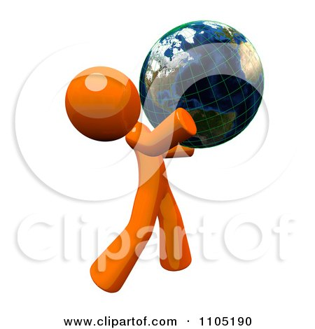 3d Orange Man Holding A Grid Globe Posters, Art Prints
