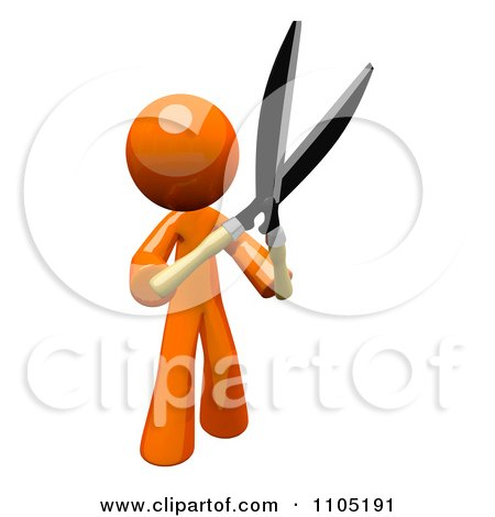 Clipart 3d Orange Man Holding Up Pruning Clippers - Royalty Free CGI Illustration by Leo Blanchette