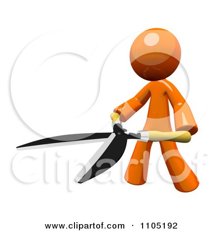 Clipart 3d Orange Man With Pruning Clippers - Royalty Free CGI Illustration by Leo Blanchette