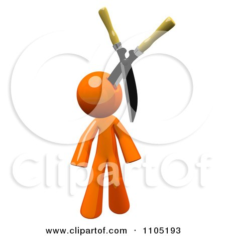 Clipart 3d Orange Man With Pruning Clippers In His Head - Royalty Free CGI Illustration by Leo Blanchette