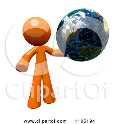 3d Orange Man With A Grid Globe Posters, Art Prints