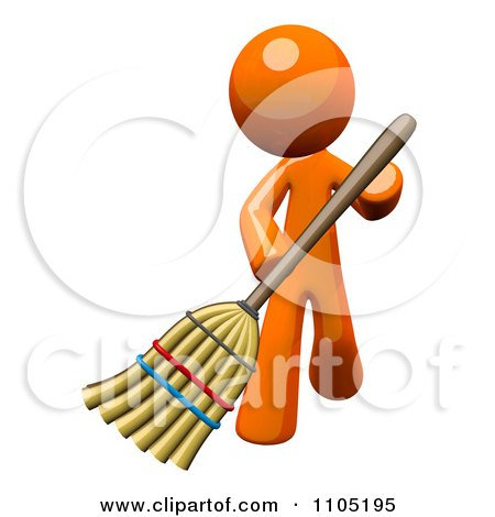 Clipart 3d Orange Man Using A Broom - Royalty Free CGI Illustration by Leo Blanchette