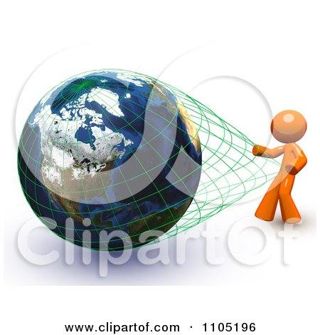 3d Orange Stretching The Grid Around A Globe Posters, Art Prints