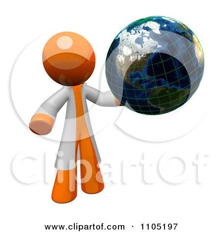 3d Orange Man Scientist Holding A Grid Globe Posters, Art Prints