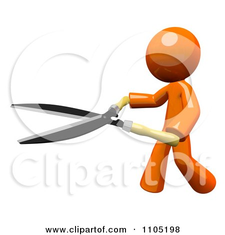 Clipart 3d Orange Man Using Pruning Clippers - Royalty Free CGI Illustration by Leo Blanchette