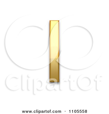 3d Gold Greek Capital Letter Iota Clipart Royalty Free Cgi