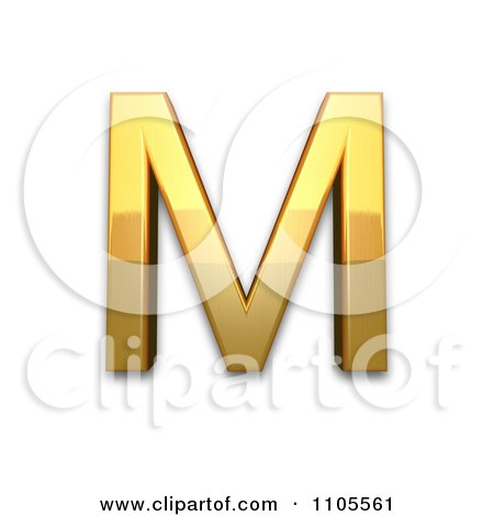 3d Gold Greek Capital Letter Mu Clipart Royalty Free Cgi